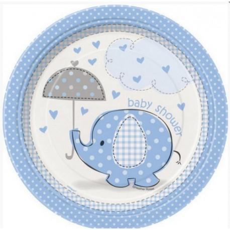 8 Assiettes rondes éléphant bleu - 18cm