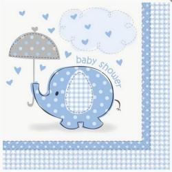 16 Serviettes éléphants bleu et gris