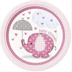 8 Assiettes rondes éléphant rose - 22cm