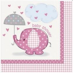 16 Serviettes éléphants rose et gris