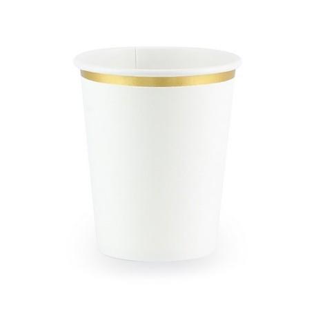 6 Gobelets blancs et bordures dorées