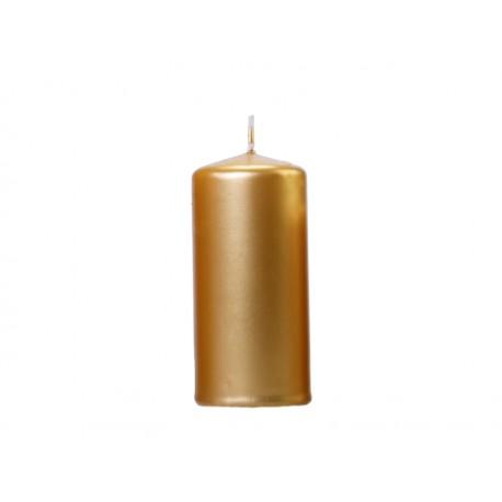 Bougie cylindrique dorée - 12cm