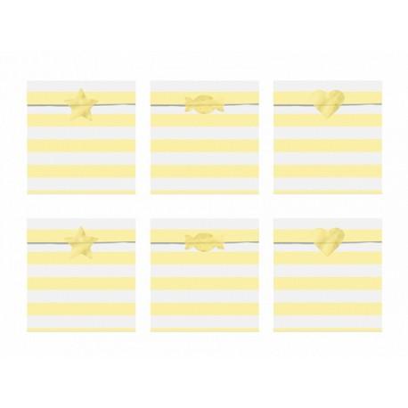 6 Sachets en papier rayures jaune