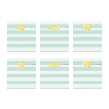 6 Sachets en papier rayures menthe