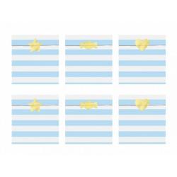 6 Sachets en papier rayures bleu