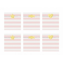 6 Sachets en papier rayures rose