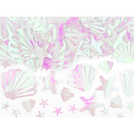 Confettis de table coquillages irisé