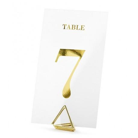 20 Numéros de table transparents et or