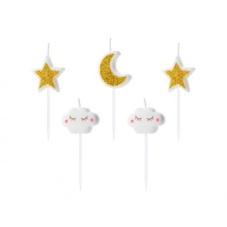 """5 Bougies """"la tête dans les étoiles"""""""