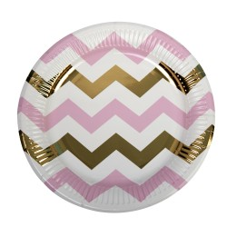 Grandes assiettes chevron rose et or x8