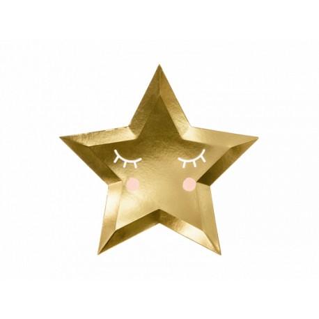 6 Assiettes étoiles dorées - 27cm