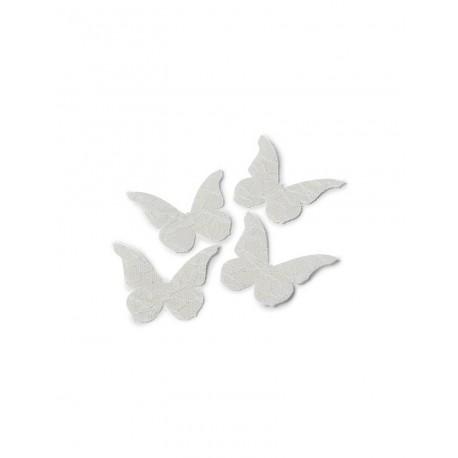Papillons lin et dentelle x24