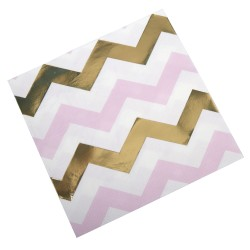 Serviette chevron or et rose x16