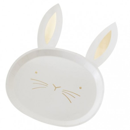 8 Assiettes lapin or - 24cm