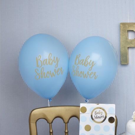 8 Ballons baby shower bleu et or