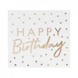 """16 Serviettes à pois or """"happy birthday"""""""
