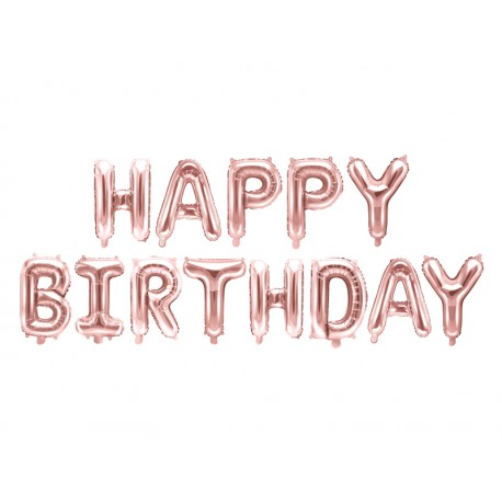 "Ballon ""happy birthday"" rose gold"