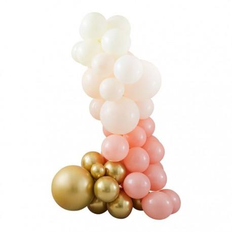 Guirlande de ballons nude et or - 75 ballons
