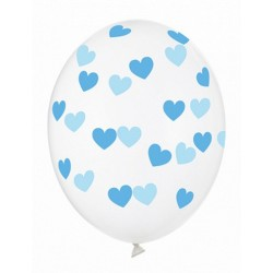 Ballon transparent coeur bleu - 30cm