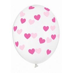 Ballon transparent coeur fuschia - 30cm