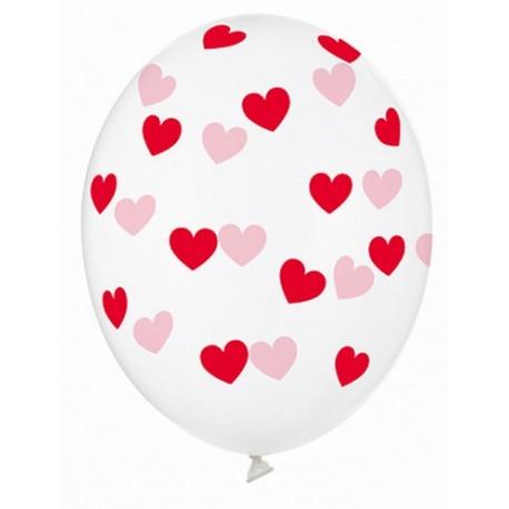 Ballon transparent coeur rouge - 30cm