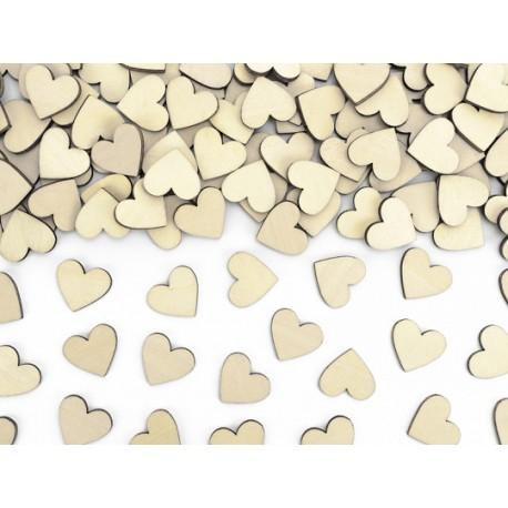 50 Confettis coeurs en bois