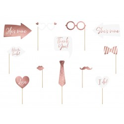 12 Accessoires photobooth roses gold