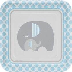Assiette éléphant bleu x8