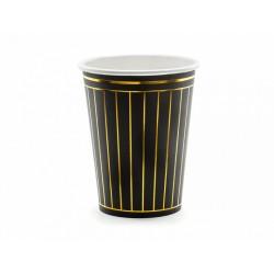 6 Gobelets noirs à rayures dorées