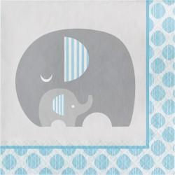 Serviette éléphant bleu x16