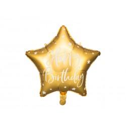 "Ballon étoile dorée ""happy birthday"""