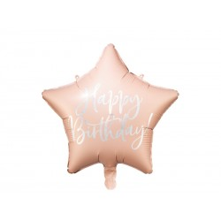 "Ballon étoile rose ""happy birthday"" - 40cm"