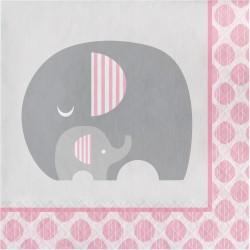 Serviette éléphant rose x16