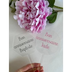 Cake topper rond personnalisable acrylique