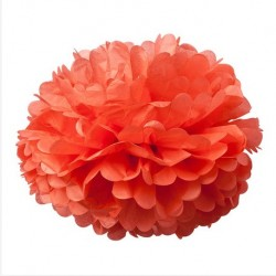 Pompons en papier de soie corail
