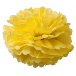 Pompons en papier de soie jaune