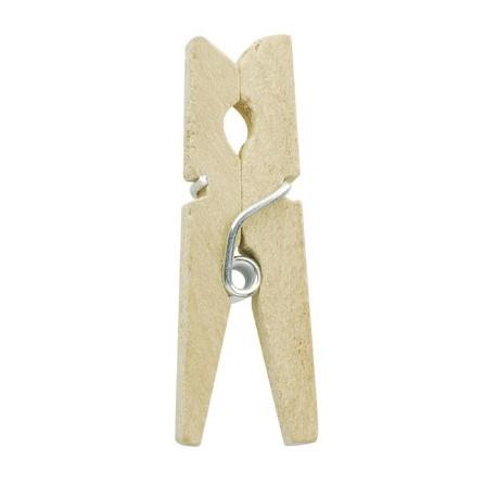 Mini pinces bois naturel x20