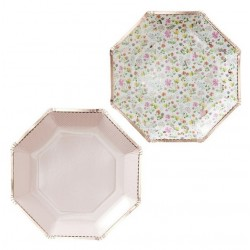 Assiettes fleuries & rose gold x8
