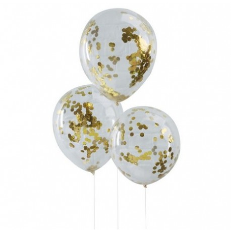 Ballon transparent avec confettis or x5