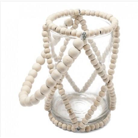 Photophore perle en bois ivoire