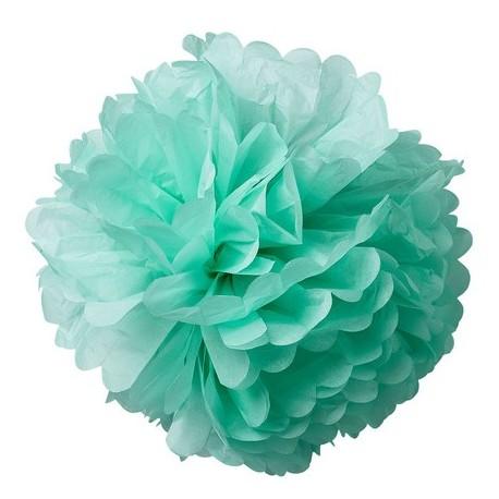 Pompons en papier de soie menthe