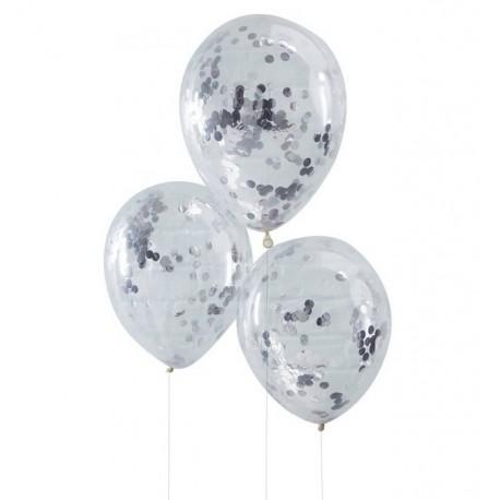 Ballon transparent avec confettis argent x5