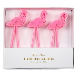Bougies flamants roses x6