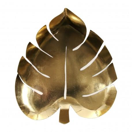 Assiettes feuilles de palmier or x8