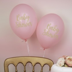 8 Ballons baby shower rose et or
