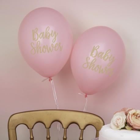 8 Ballons baby shower rose et or