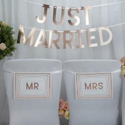 Pancarte Mr & Mrs rose gold
