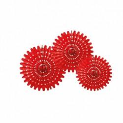 3 Rosaces rouges 20/30/40 cm