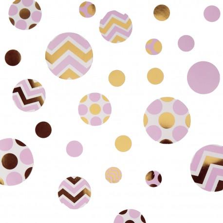Confetti chevron rose et or