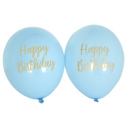 8 Ballons happy birthday bleu et or